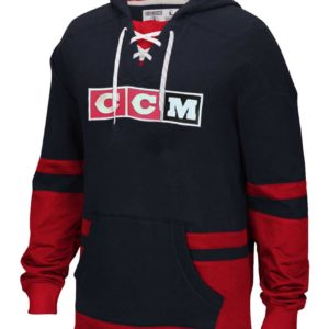 CCM Pullover Jersey Hooded Sweatshirt-Black-Red