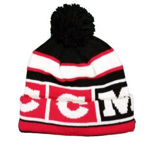 CCM Hockey Hat - Winter Classic Pom Knit Cap - Black & Red